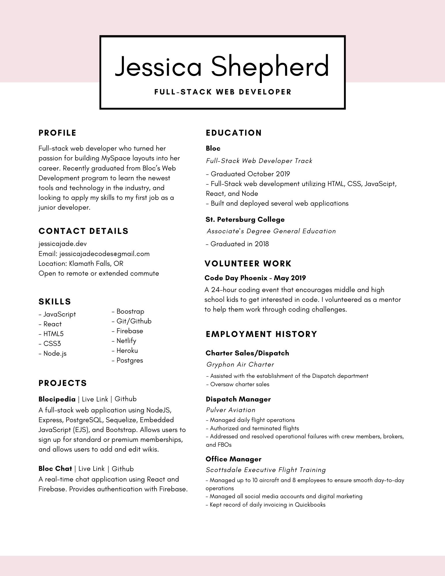 Jessica Shepherd | Resume